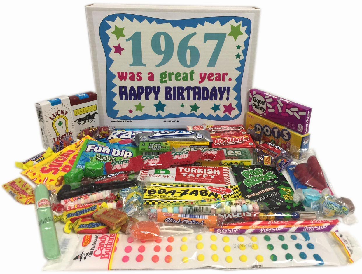 50th Birthday Gift For Women And Men Retro Candy Basket