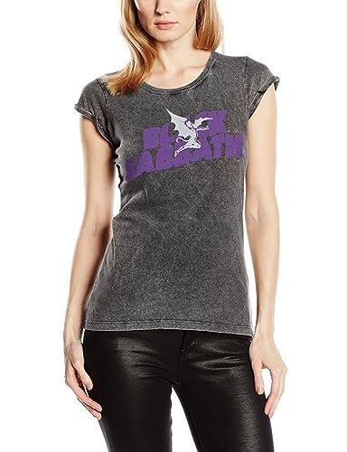 Black Sabbath Logo & Daemon Acid Wash, T-Shirt Donna
