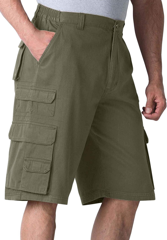 """Boulder Creek by Kingsize Men's Big & Tall 12"""" Side-Elastic Stacked Cargo Pocket Shorts"""