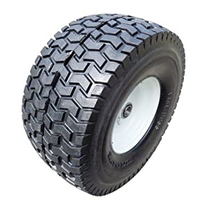 """Fortitude Machines 2-Pack 15x6.5-6"""" NHS Flat Free 3"""" Certerned Hub Flat Free Tires & Wheels 4 Ply for Lawn & Garden Mower Turf Tires, 3/4"""" Ball Bearing"""
