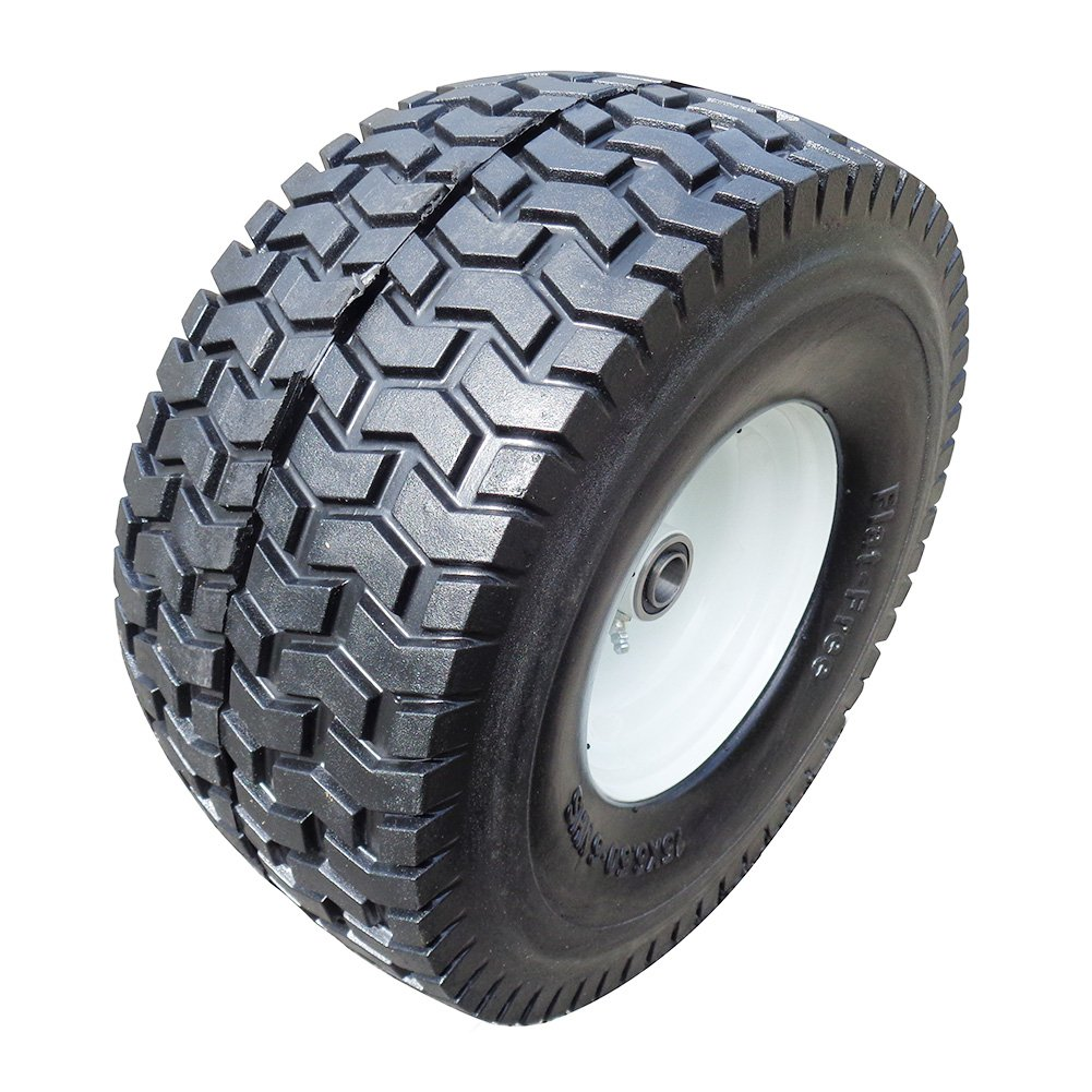 Fortitude Machines 2-Pack 15x6.5-6'' NHS Flat Free 3'' Certerned Hub Flat Free Tires & Wheels 4 Ply for Lawn & Garden Mower Turf Tires, 3/4'' Ball Bearing