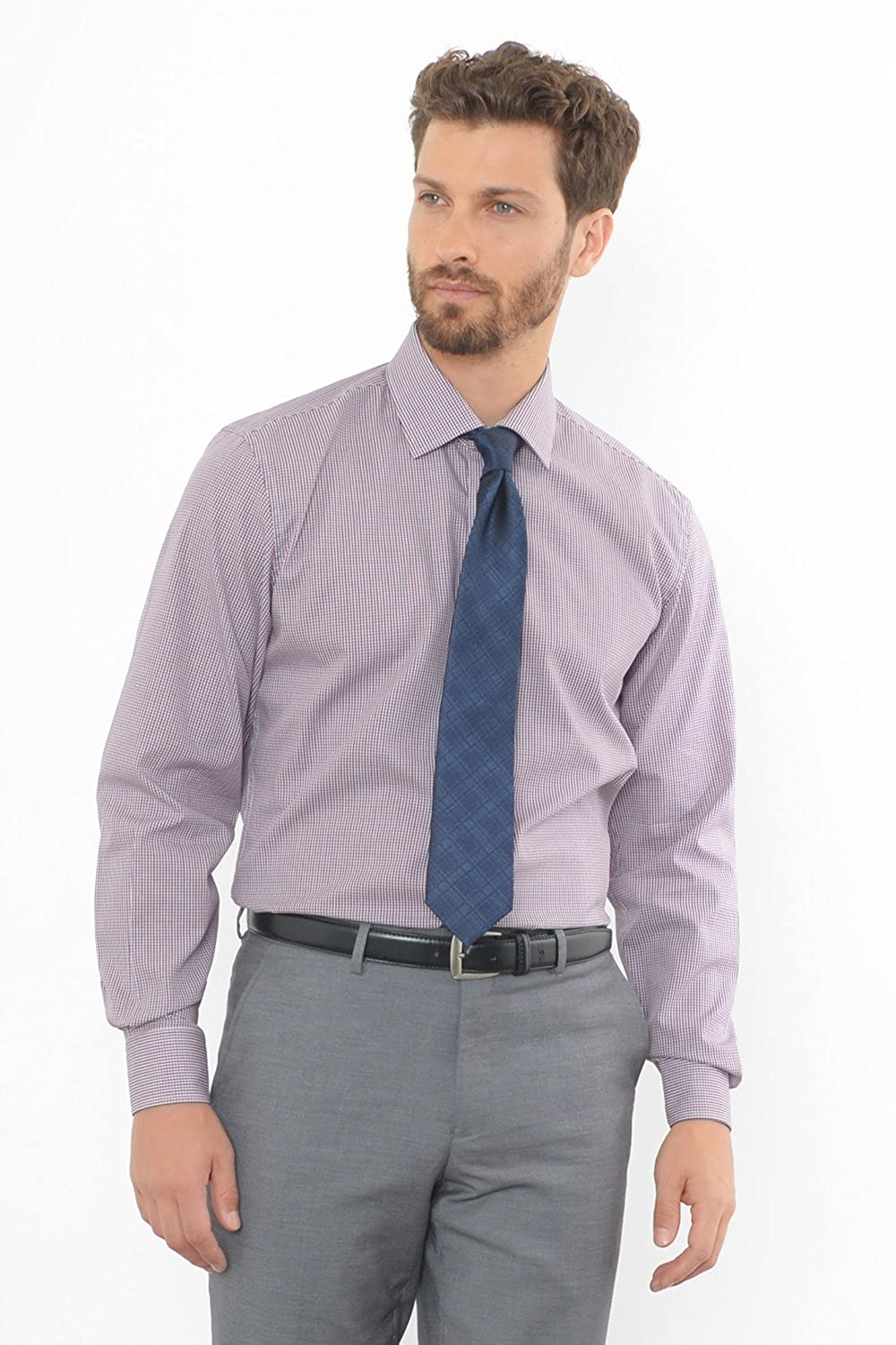 Combatant Gentlemen Mens Athletic Fit Red Blue Tattersall Wide