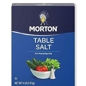 Morton Table Salt, Non-Iodized, 4 Lb Box (Pack of 9)