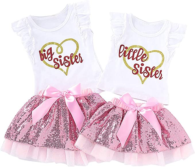 Big//Little Sister Matching Set Baby Girls Tops Romper Pants Costume Clothes UK