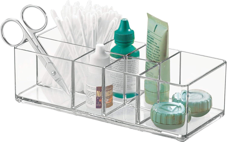 "iDesign Med+ Bathroom Vanity Divided Organizer, Medication and Bathroom Accessory Organization, 7.1"" x 3.1"" x 5.1"", Clear"