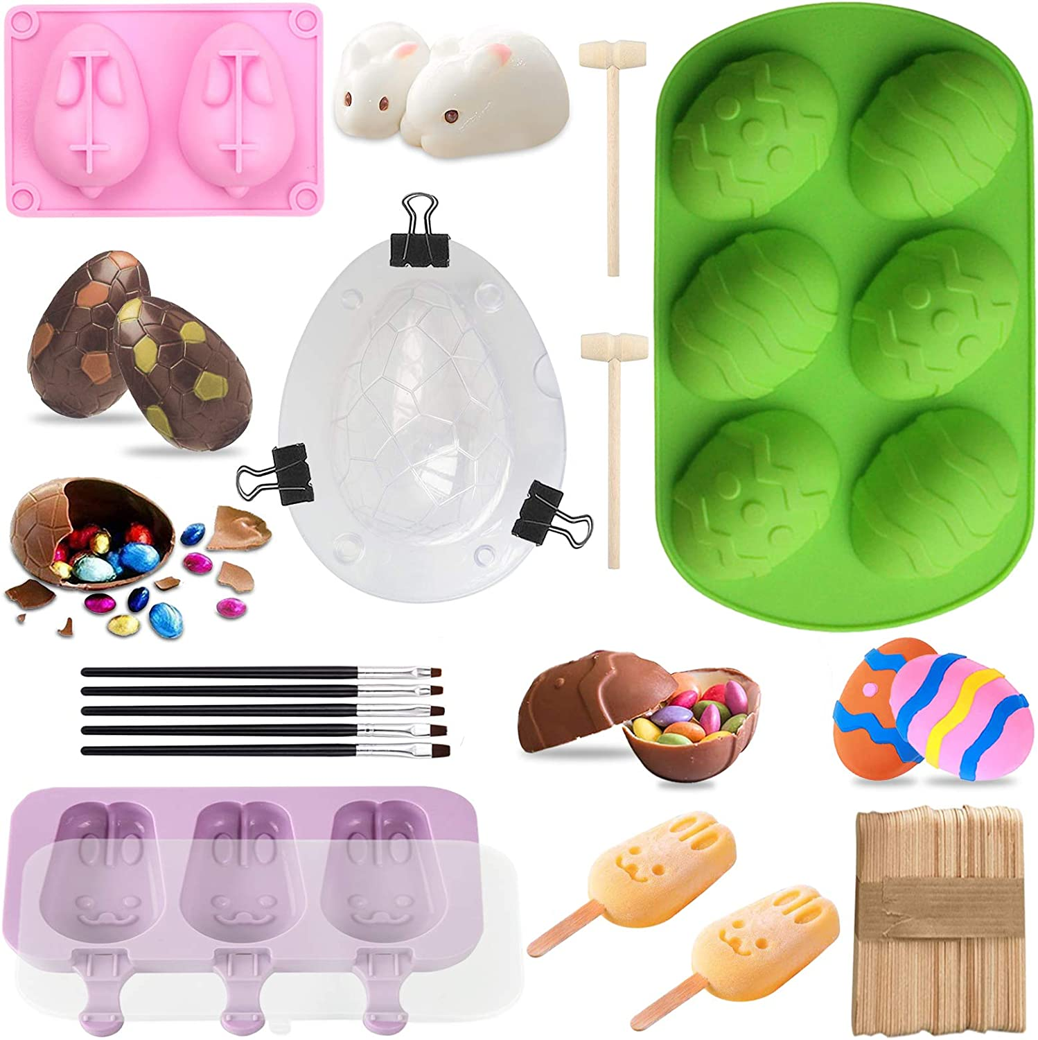 Easter Chocolate Molds-3D Dinosaur Egg Mold,Easter Egg Mold,Bunny Molds,Popsicle Silicone Molds with 50 Wooden Sticks,2 Mini Wooden Hammer 5 Cake Brushes for DIY Chocolate Bomb,Candy