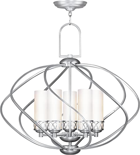 Livex Lighting 4725-91 Chandelier with Hand Blown Satin White Glass Shades, Brushed Nickel
