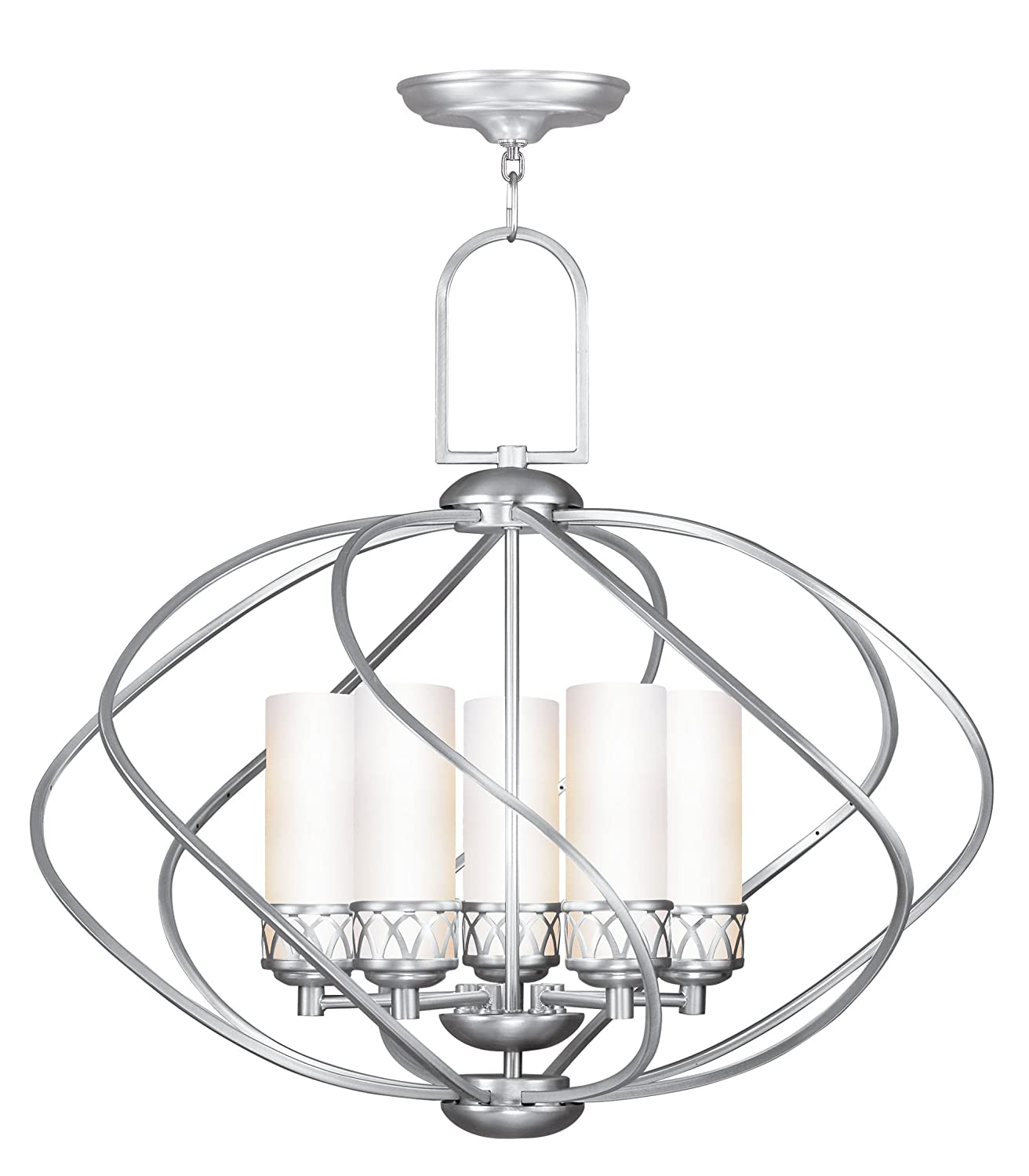 Livex lighting 4725 91 chandelier with hand blown satin white glass livex lighting 4725 91 chandelier with hand blown satin white glass shades brushed nickel amazon arubaitofo Choice Image