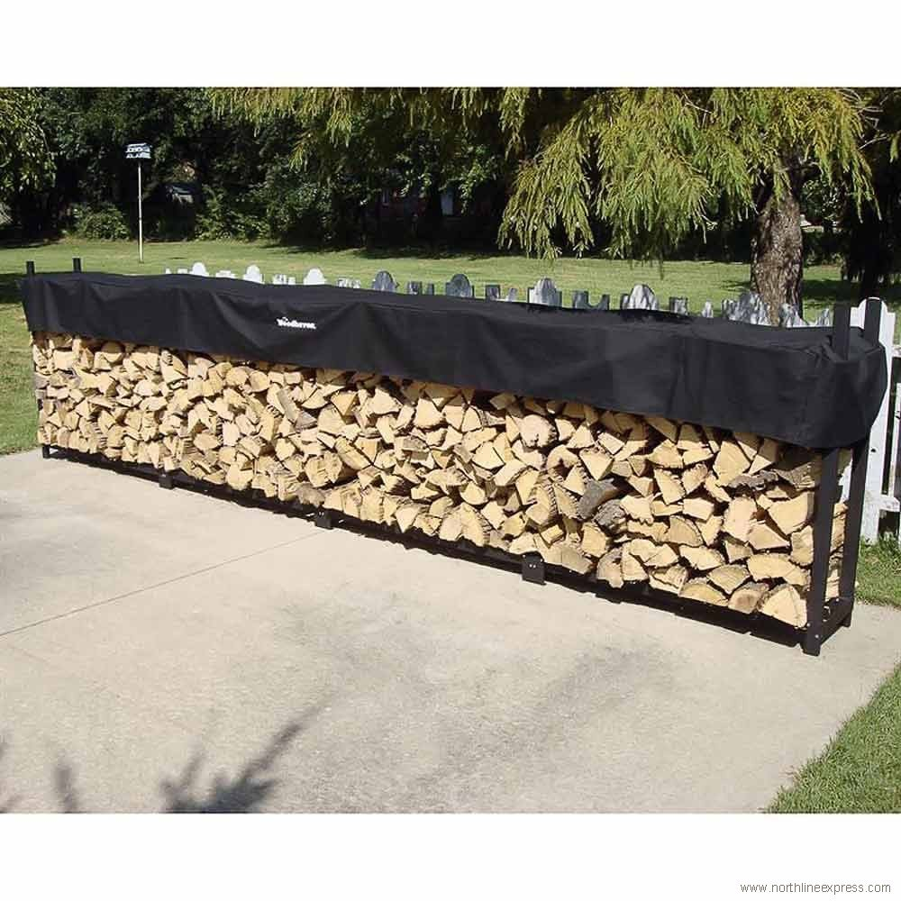 Woodhaven Steel Log Rack Finish Black, Size 48 H x 192 W x 14 D