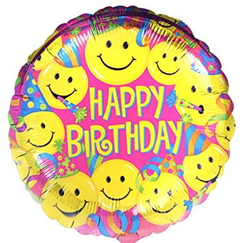 Happy Birthday Mylar Balloons Yellow Smile Faces Party Supplie RS