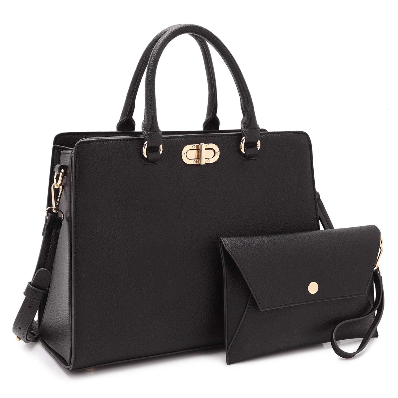 Dasein Women Fashion Handbags Tote Purses Shoulder Bags Top Handle Satchel Purse Set 2pcs Black by Dasein