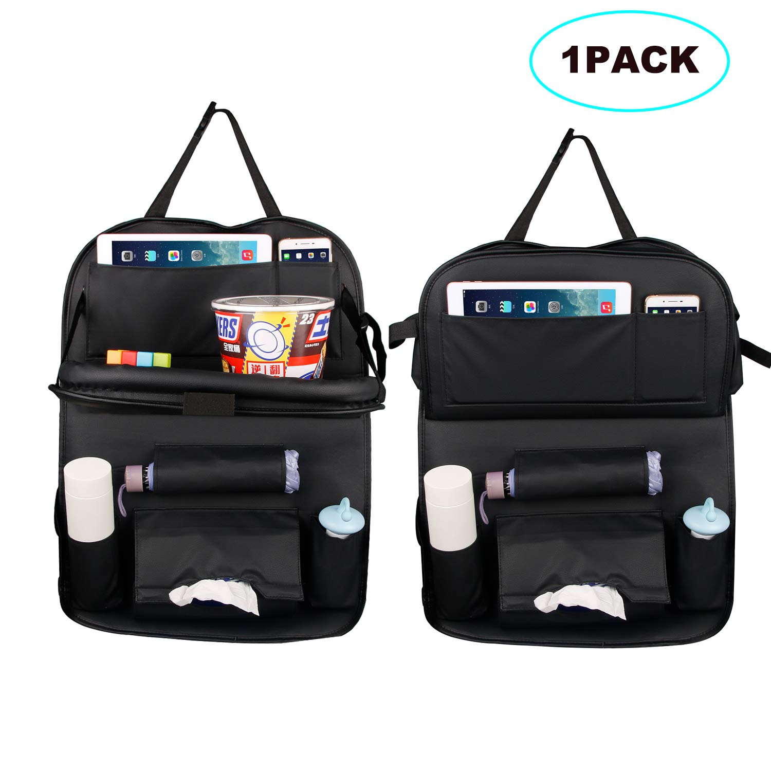STYLINGCAR Car Back Seat Organiser Car Organisers Seat Back Protectors Cover with Holder Multi Pockets for Kids Toys Bottles Snacks (1PACK)
