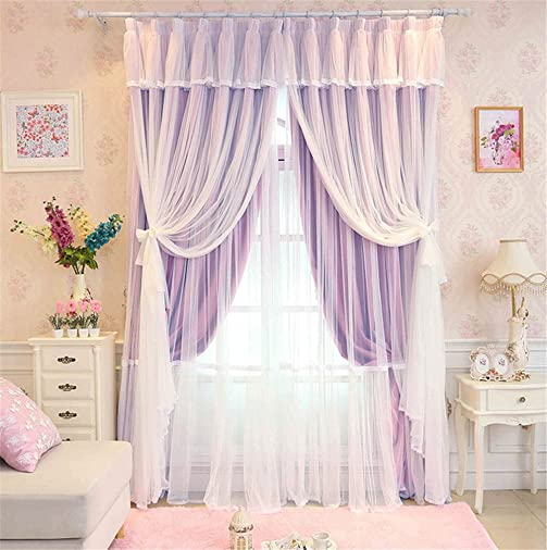 Lotus Karen Princess Curtains Romantic Dreamy Gathered Tulle Lace Sheer Blackout Curtain – 4-Piece Layered Solid Hook Curtain Panel Set