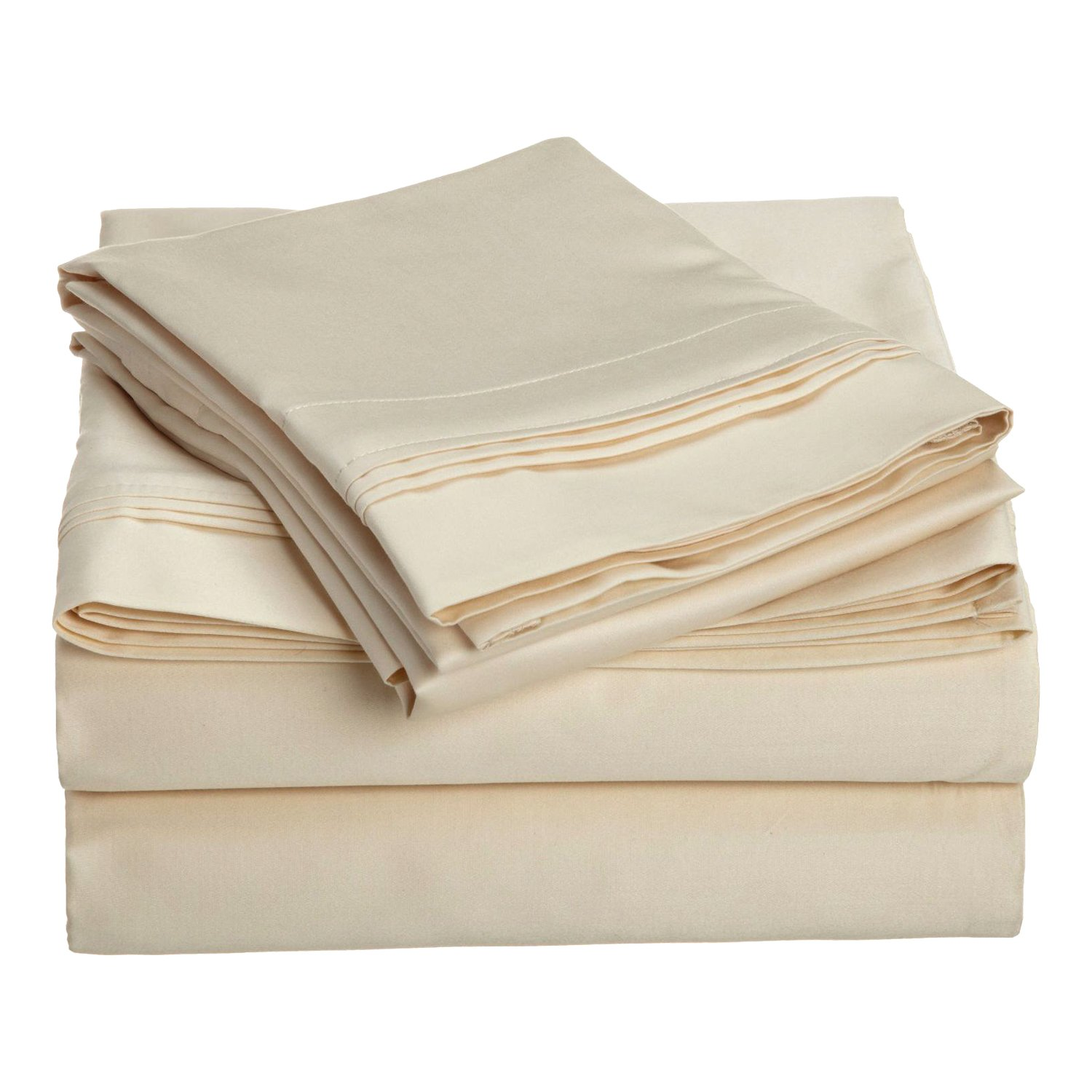1500 Thread Count 100% Egyptian Cotton, Single Ply, Queen Bed Sheet Set, Solid, Ivory by Superior