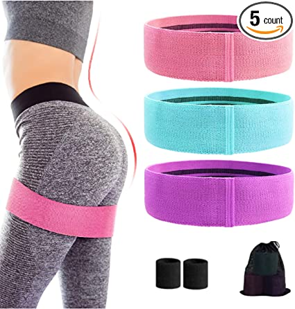 Marina Sports Resistance Bands for Legs and Butt Training Anti-Slip Stretch and Fabric Exercise Band Yoga Bands for Women//Men Indoor and Outdoor Activities. 3 Pack Squat and Glutes Training Loops