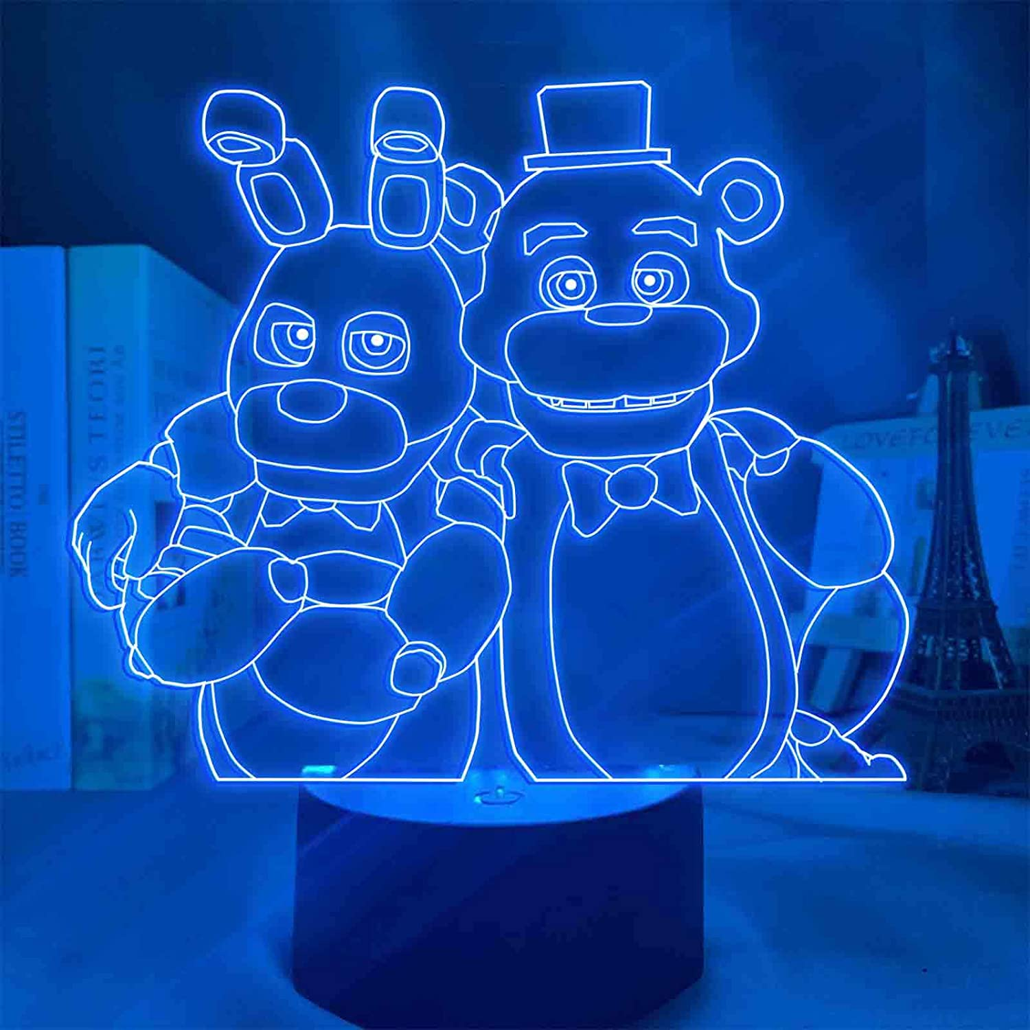 FNAF Night Lights 3D LED Anime Night Light, Kids 3D Illusion Lamp 7 Color Change Decor Lamp - Perfect Gifts for Kids and Room Room Decor (7 Color Touch + Remote)