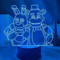 FNAF Nachtverlichting 3D LED Vijf Ni-ghts bij Fre-ddy Nachtlampje, Kids 3D Illusion Lamp 7 Kleurverandering Decor Lamp…