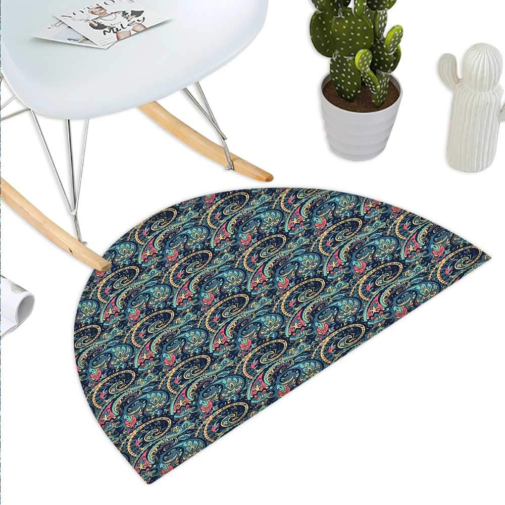 color01 H 43.3  xD 64.9  Paisley Semicircle Doormat Vintage Eastren Inspired Design with Flowers Ivy Leaves and Dots Nature Artwork Halfmoon doormats H 27.5  xD 41.3  bluee and White