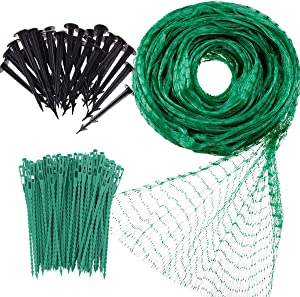 Garden Netting Anti Bird Protection Net 4M x 10M / 13Ft x 33Ft Green Garden Plant Netting Fruit Trees Netting with 20 Tacks and 50 Ties