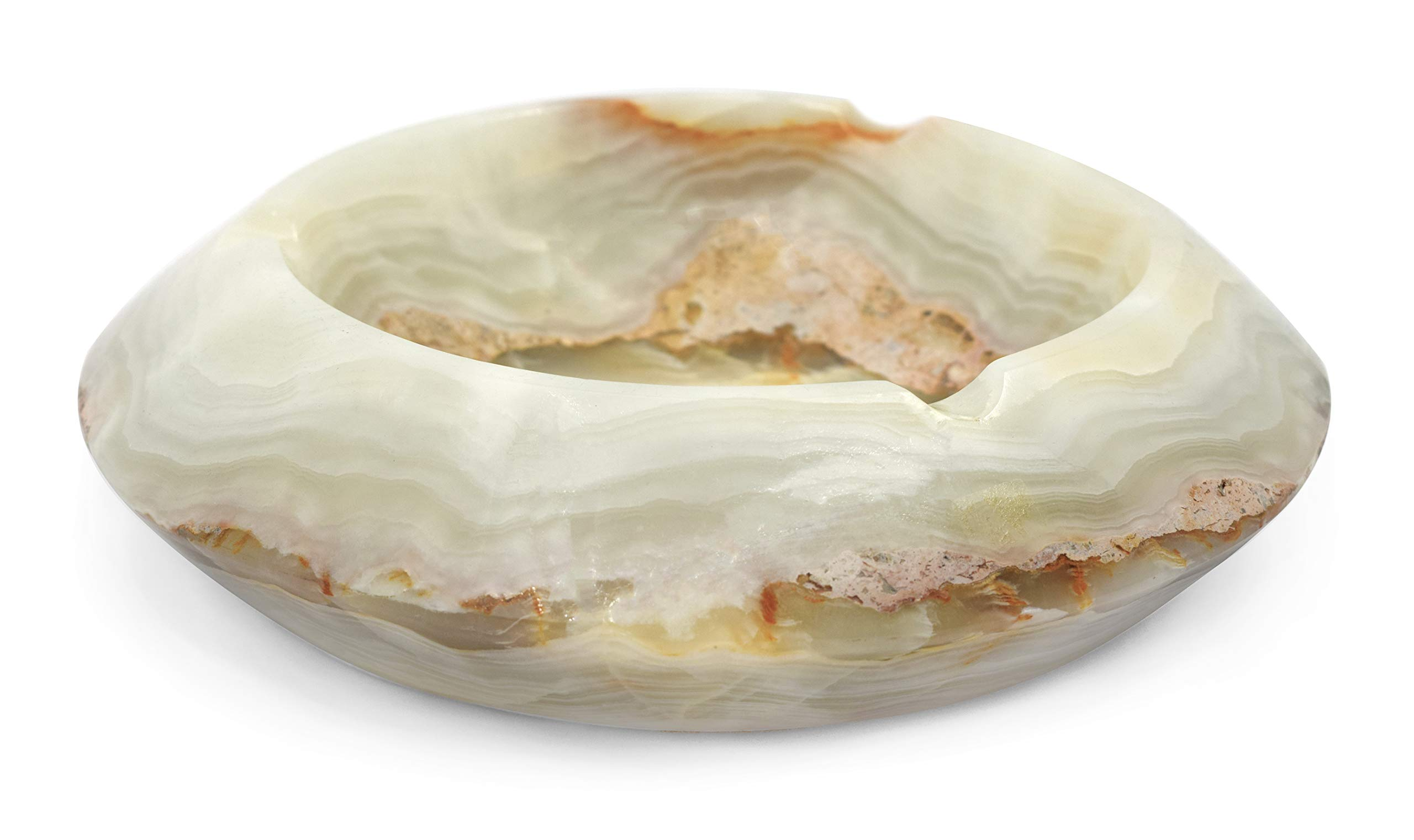 Misty Green Bowl Ashtray, 2'' Tall, 8'' Long, 8'' Wide, (5.5lbs), Carved from Real North American Onyx Aragonite - The Artisan Mined Series by hBAR by hBARSCI