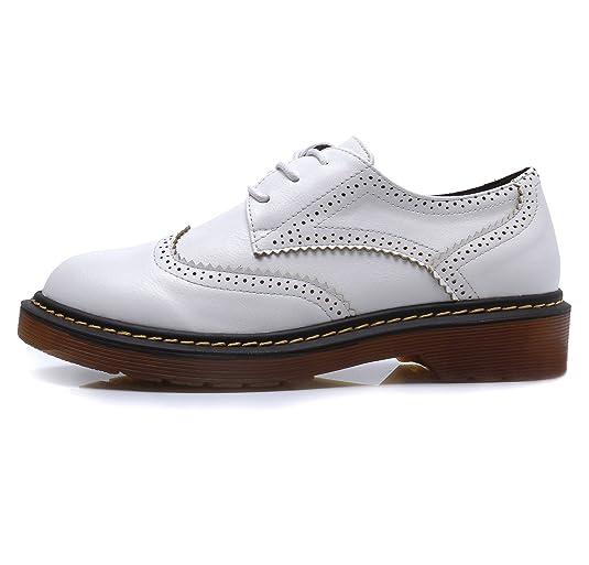 Smilun Chaussures Femme Derby Brogues Richelieu Western Plat Bout Rond   Amazon.fr  Chaussures et Sacs 1a91517353c0