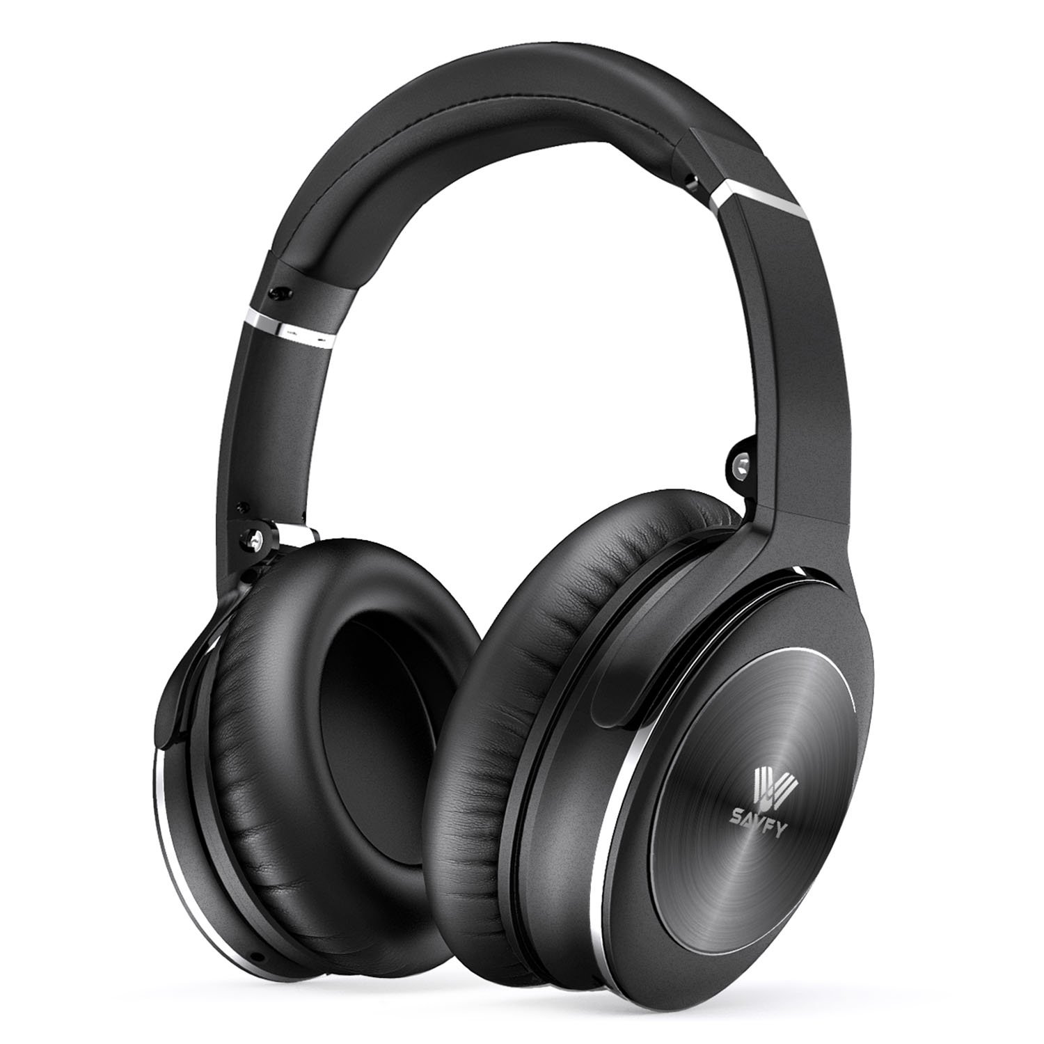 Savfy Active Noise Cancelling Bluetooth Headphones, Wireless Over-Ear Headphone with HiFi, Comfort Protein Ear Pads, Built-in Microphone and Wired Mode for Travel Work Gaming PC, TV, Phone Black