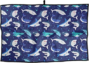 XKAWPC Shark Seafish with Sharp Teeth Personalized Golf Towel Microfiber Sports Towel - Ideal Quick Dry Towel for Golf Yoga Camping Gym
