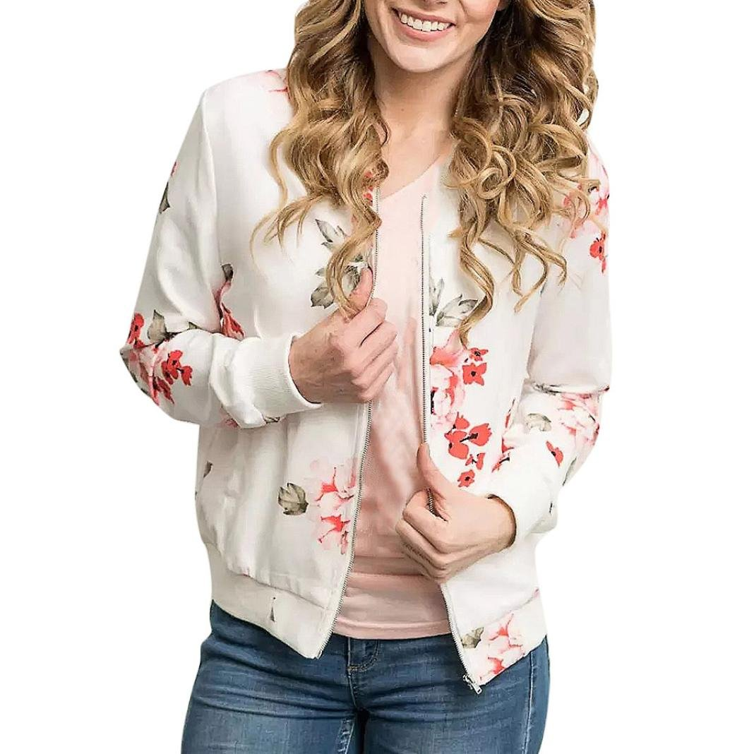Fiaya Women's Casual Floral Print Long Sleeve Front Zip Sweatshirt Jacket with Ribbed Cuffs (White, L)