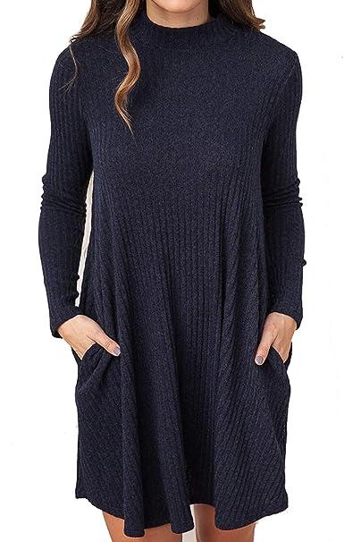 Knit da Vestito Sweater Semplice Maglione Maglione Donna Abito Hgnw6qOn