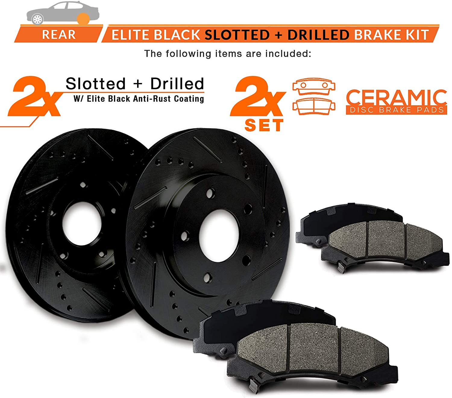 E-Coated Slotted Drilled Rotors + Ceramic Pads Max Brakes Rear Elite Brake Kit Fits 2012-2017 Grand Caravan Journey w//328mm Rear rotors KT172682