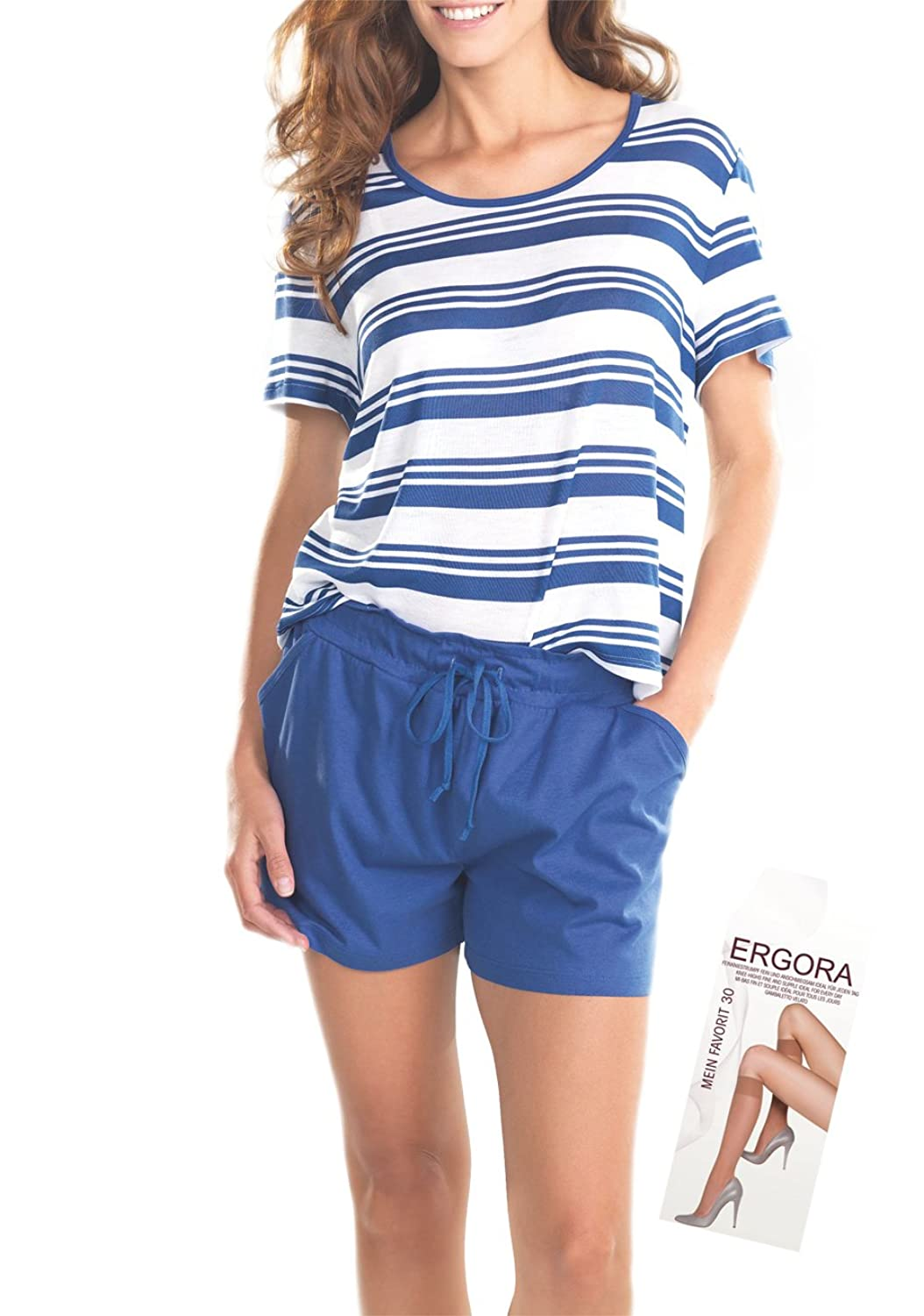 Cybele Damen Set Shorty + Shirt in Blau-Weiß 7 Gr. 36 bis 48 Homewear Single-Jersey + 1 Paar Feinkniestrümpfe