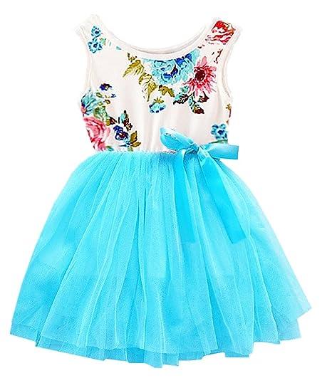 3172d7f414 Amazon.com  2Bunnies Girl Baby Girls Floral Flower Girl Dress Tulle Tutu  Birthday Party Sundress  Clothing