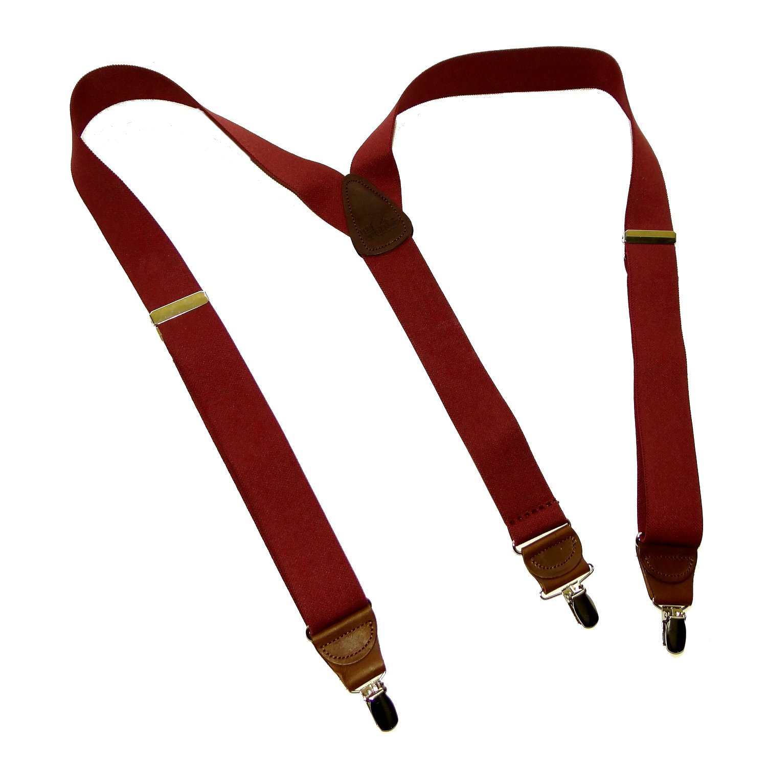 HoldUp Suspender Companys dark Merlot Burgundy Y-back style suspenders with Brown leather crosspatch and No-slip Nickel plated clips