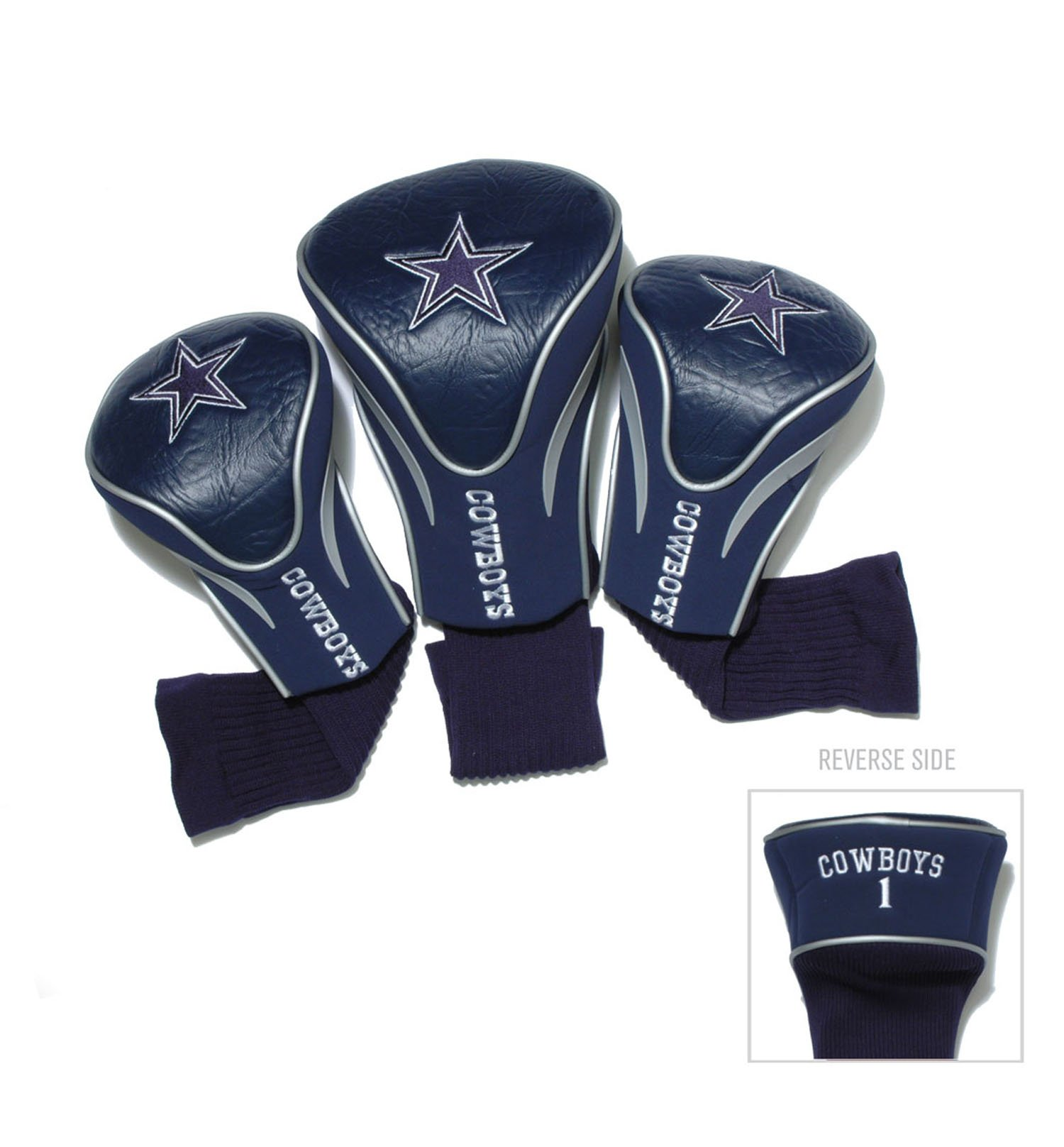 Team Golf NFL Dallas Cowboys Contour Golf Club Headcovers (3 Count), Numbered 1, 3, & X, Fits Oversized Drivers, Utility, Rescue & Fairway Clubs, Velour lined for Extra Club Protection