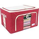 BlushBees® Living Box - Storage Boxes for Clothes, Large Saree Cover Bags - 55 Litre, Pack of 1, Polka Dots Red