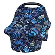Baby Car Seat Cover, Nursing Covers Soft Breathable Stretchy Breastfeeding Scarf Shawl, Infant Carseat Canopy Lightweight Cotton Muslin for Stroller, High Chair, Shopping Cart, Shower Gift