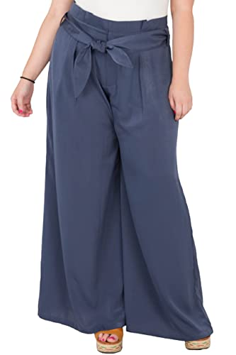 95562c76e5d Standards   Practices Plus Size Women s Paper Bag Waist Blue Satin Palazzo  Pants at Amazon Women s Clothing store