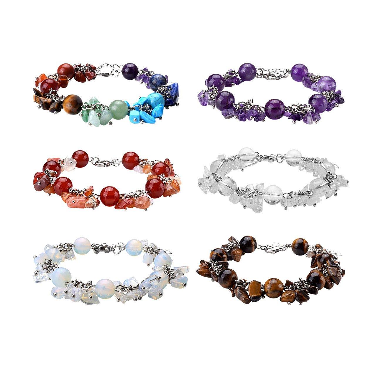 Top Plaza Women 7 Chakra Reiki Healing Balancing Crystal Beads Bracelet Natural Gemstone Fashion Silver Tone Adjustable Bracelet(Set Of 6)