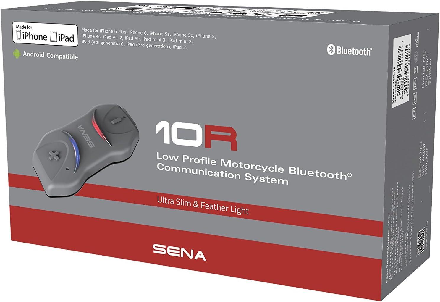 Noir Sena 10R-10 Casque Bluetooth et Intercom Discret pour Moto avec Handlebar Remote compris