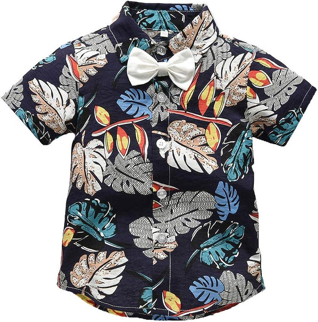 Innerternet-Camiseta de niño, (12 Meses-5 años de Edad) Bebes niños Camisa de Manga Corta con Estampado Hawaiano/Caballero Camisa de Solapa de Manga Corta+Pajarita de Color Liso: Amazon.es: Ropa y accesorios