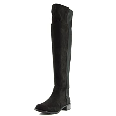 Kick Footwear Frauen Knie Hohe Elastische Stretch Panel Te mittig Getroffenen Bällen Heeld Stiefel - UK 7/EU 40, Schwarz Matt