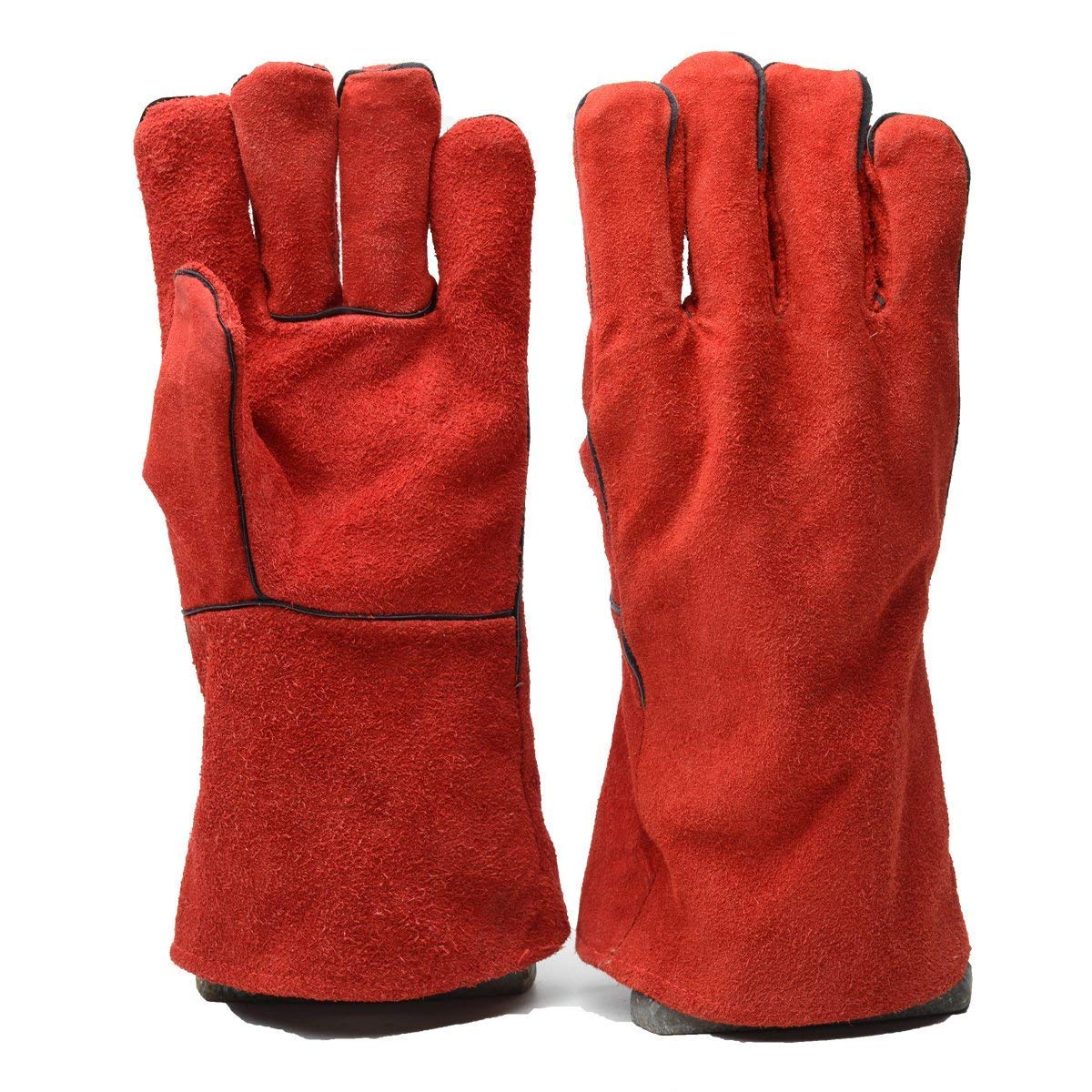 Safety Shop Leather Welding Gloves, Heavy Duty Heat Resistant, Cotton Liner for Mig and Tig Welder, Fireplace/Stove/Oven/Grill/BBQ, 14inch, Red, XL