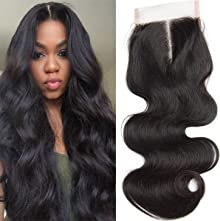 Body Wave Human Hair 4x4 Lace Closure 130% Density Soft Middle Part Body Wave 4x4 Lace Closure with Baby Hair Natural Hair(12 Inch/Middle)