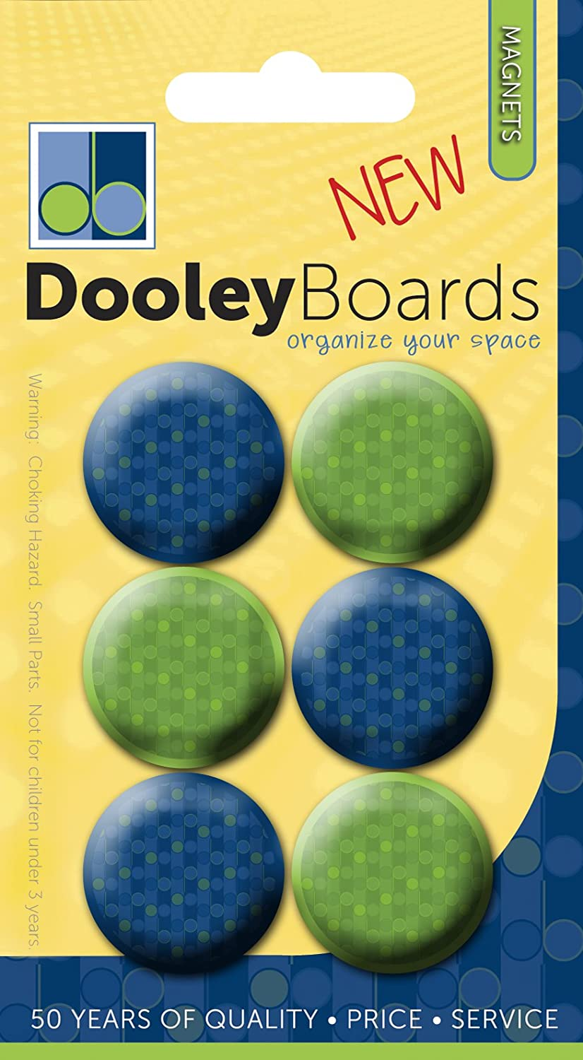 DMBT 1-Inch Dooley Assorted Button Magnets Pack of 6 DRMBT