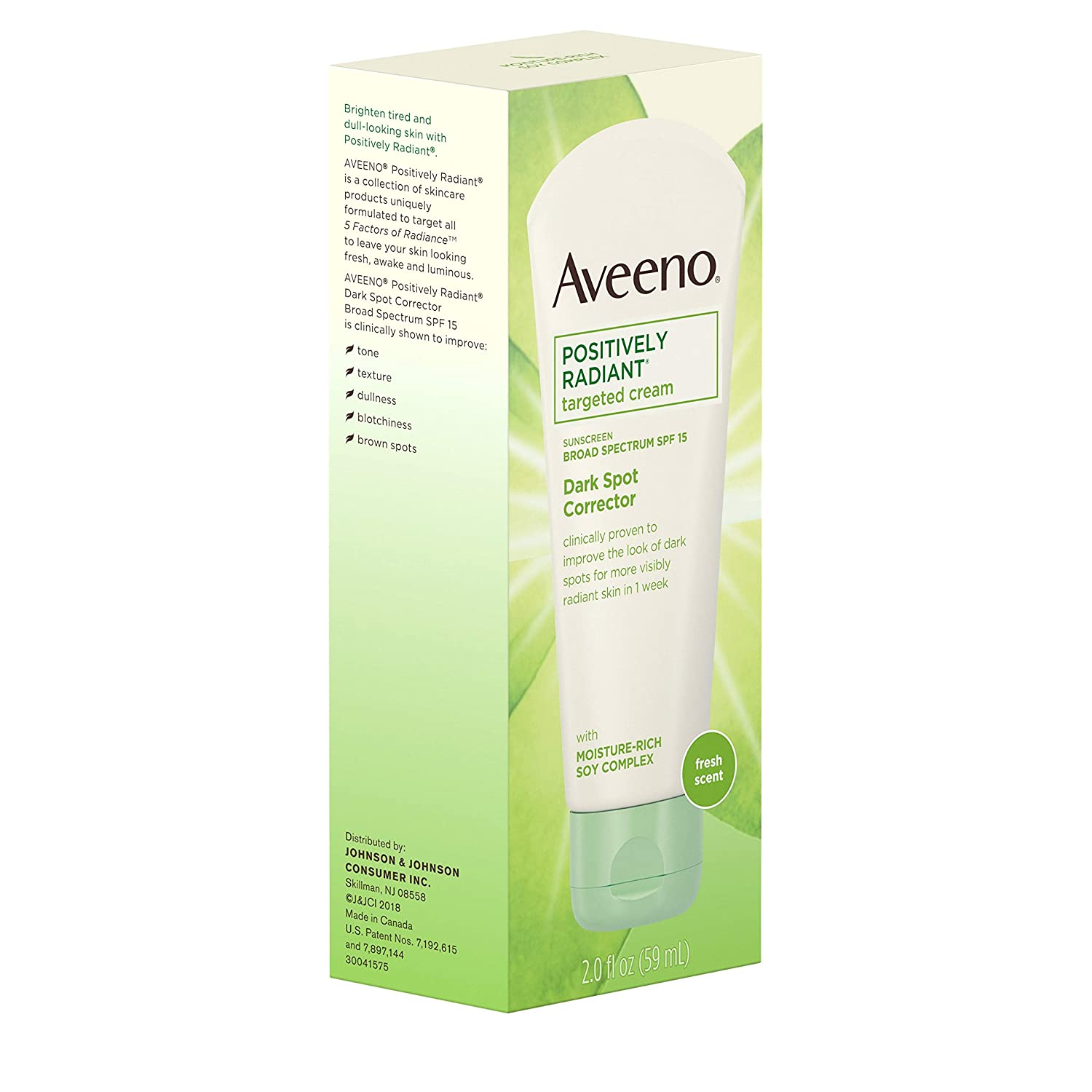 97fcc570df5 Amazon.com: Aveeno Positively Radiant Targeted Cream Dark Spot Corrector  with SPF 15 Sunscreen & Moisture-Rich Soy Complex, Oil-Free, ...