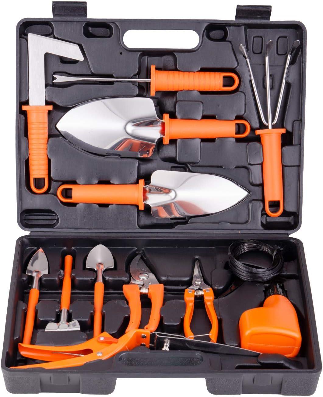 BNCHI Gardening Tools Set,14 Pieces Stainless Steel Garden Hand Tool, Gardening Gifts for Women,Men,Gardener 14 Pieces-Orange