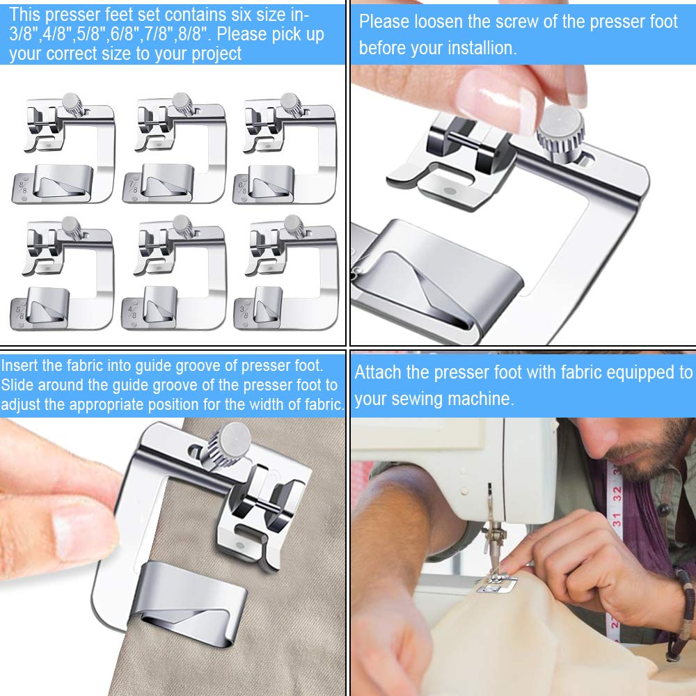 Fit for Most Low Shank Sewing Machines 6 Pack 3//8 Inch, 4//8 Inch, 5//8 Inch, 6//8 Inch, 8//8 Inch, 8//8 Inch 6 Sizes Wide Rolled Hem Presser Foot Sewing Machine Presser Foot Hemmer Foot Set