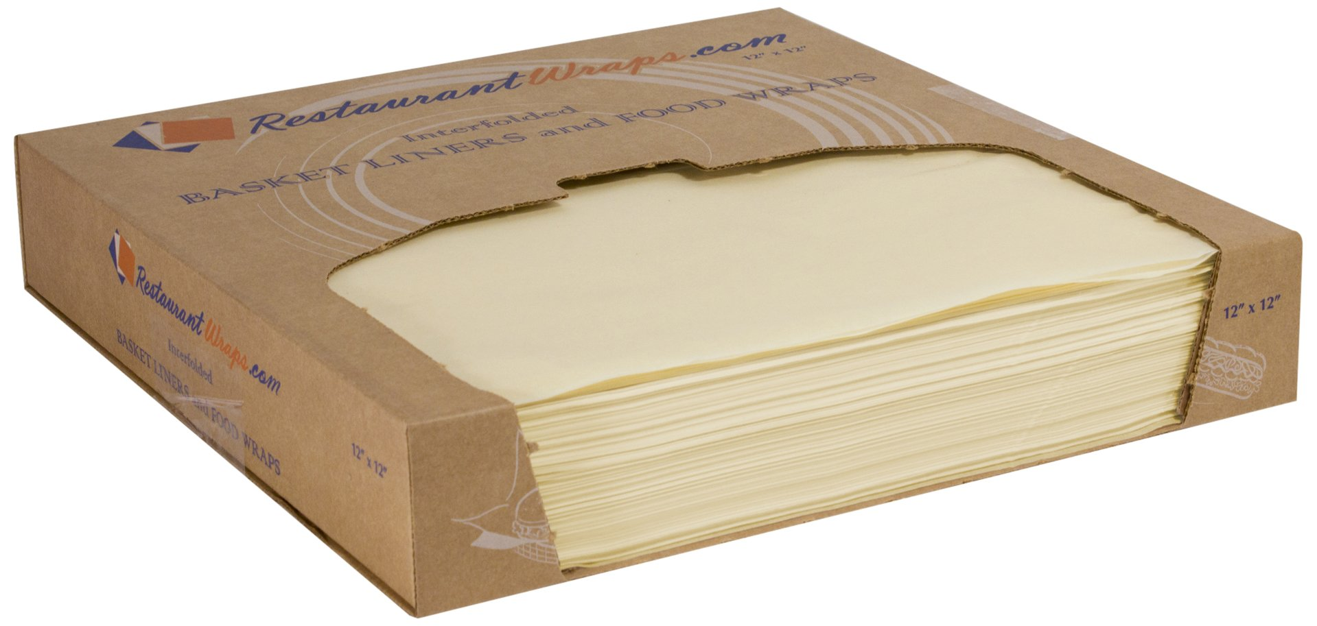 RestaurantWraps.com Waxed Sheets, Basket Liner and Food Wrap, 12'' x 12'', Cream (6 Packs of 1000 Sheets)