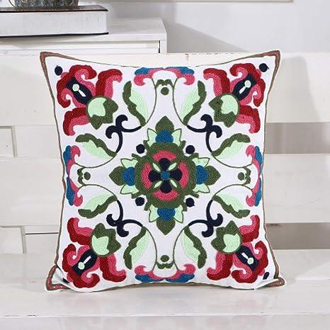 YUHUALI Funda de Almohada de algodón Bordado Almohada patrón ...