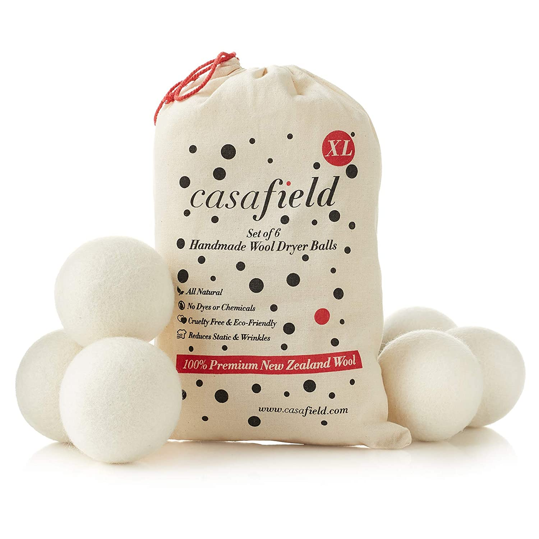 Casafield Set of 6 Organic Wool Dryer Balls - Extra Large 100% New Zealand Sheep's Wool - Laundry Fabric Softener/Sheet Alternative